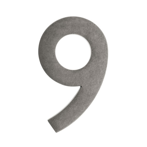 Four Inch Antique Pewter Address Number 9