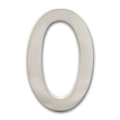 Four Inch Floating House Number Satin Nickel 0