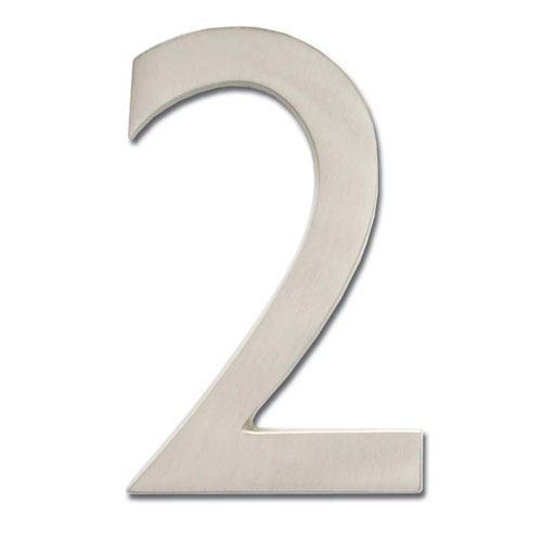 Four Inch Floating House Number Satin Nickel 2