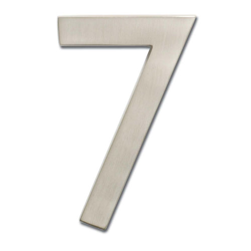 Four Inch Floating House Number Satin Nickel 7