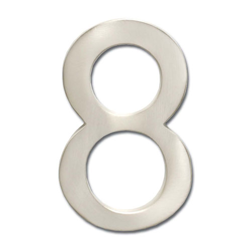 Four Inch Floating House Number Satin Nickel 8