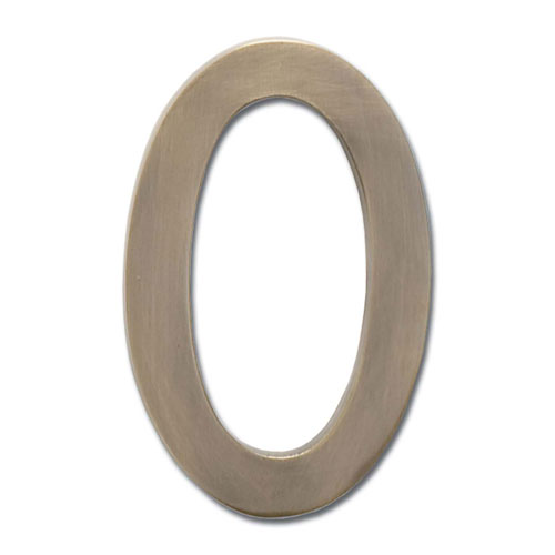 Five Inch Floating House Number Antique Brass 0