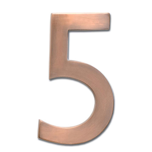 Architectural Mailboxes Five Inch Floating House Number Antique Copper 5