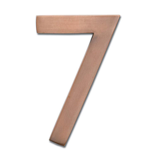 Five Inch Floating House Number Antique Copper 7