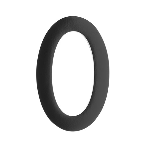 Five Inch Black Floating House Number 0