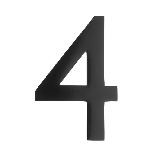 Five Inch Black Floating House Number 4