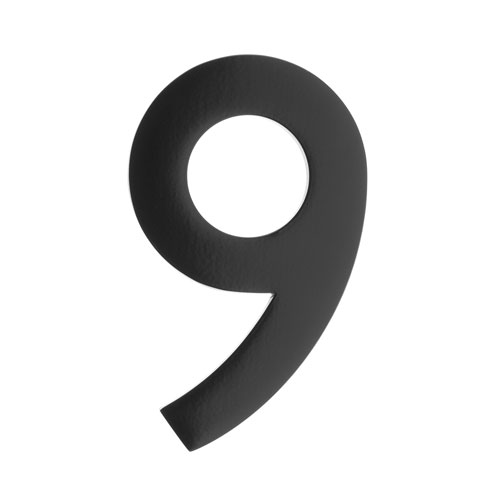 Five Inch Black Floating House Number 9