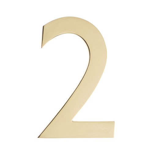 Five Inch Polished Brass Floating House Number 2