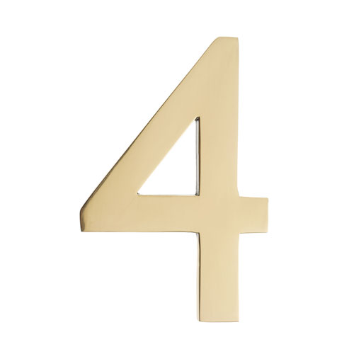 Five Inch Polished Brass Floating House Number 4