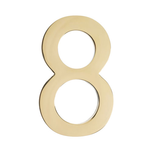 Five Inch Polished Brass Floating House Number 8