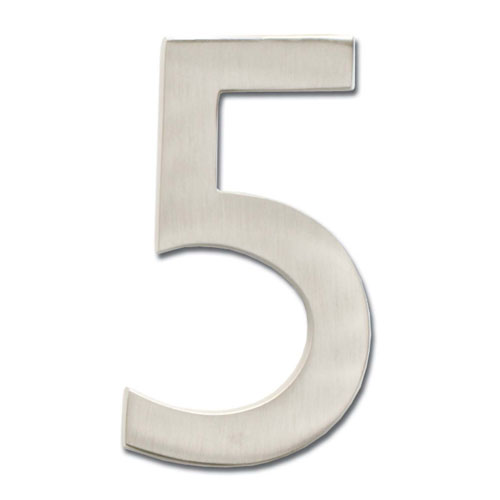 Five Inch Floating House Number Satin Nickel 5
