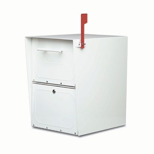 Architectural Mailboxes Oasis Jr. Post Mount Mailbox White Stainless Steel