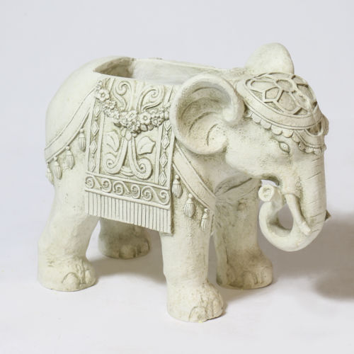 Antique Stone Fiberglass Elephant Indian Planter