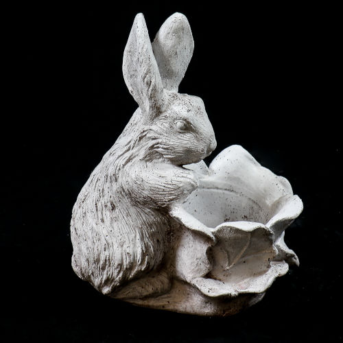 Cathedral White Fiberstone Cabbage Patch Rabbit Urn