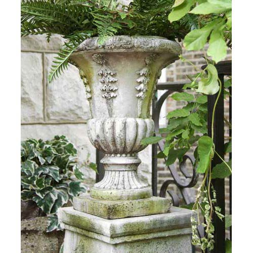 Six Sided Fiberglass Urn - White Moss Finish