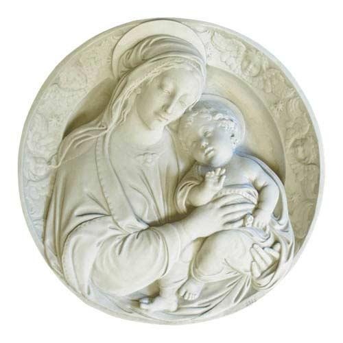 Antique Stone Madonna and Child Plaque