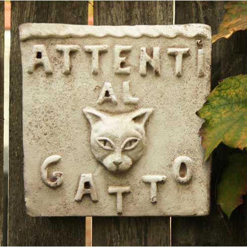 Orlandi Statuary Inc. Beware of Cat Plaque Fiberglass - Cathedral White Finish