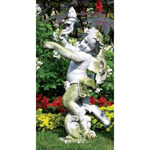 Rococo Left Angel Fiberglass Statue - White Moss Finish