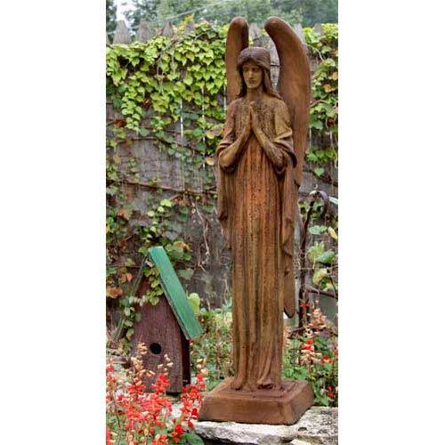Somber Angel Fiberglass Statue - Sandstone Finish