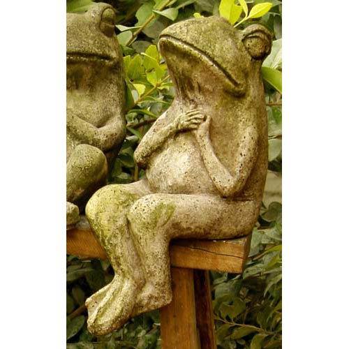 Drama Frog 8-Inch Fiberglass Statue - White Moss Finish