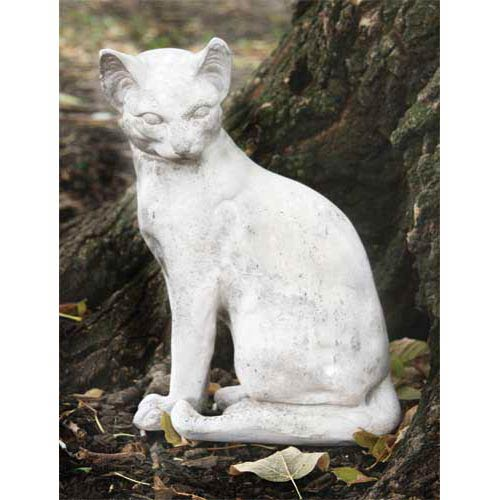 Cat Waiting 13-Inch Fiberglass Statue - Cathedral White Finish