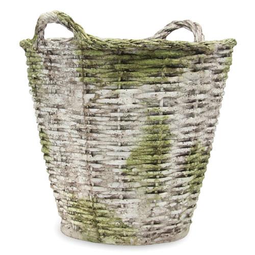 Orlandi Statuary Inc. White Moss Round Basket Large