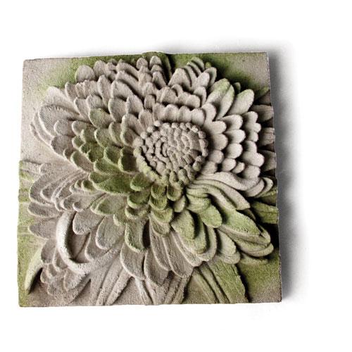 Orlandi Statuary Inc. White Moss Chrysanthemum Plaque