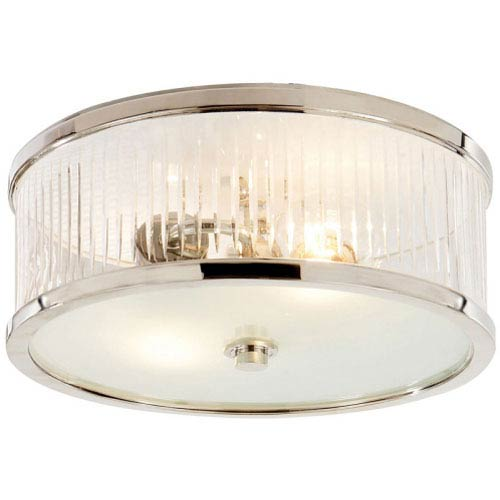 Randolph Large Polished Nickel Flush Mount w/ Crystal and Frosted Glass