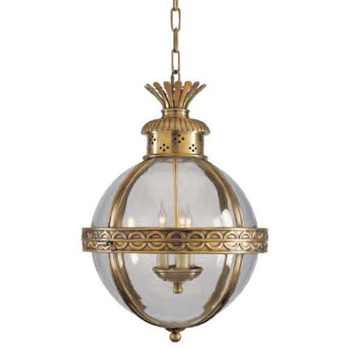Antique Brass Crown Top Banded Globe Pendant