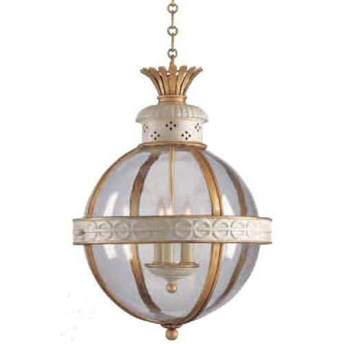 Antique White Crown Top Banded Globe Pendant