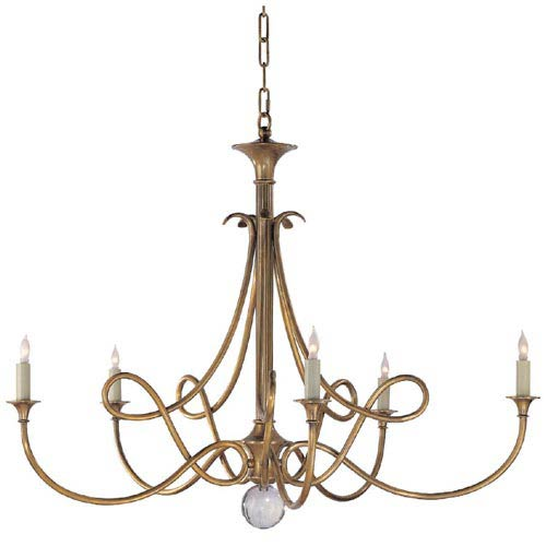Antique Brass Double Twist Five-Light Chandelier
