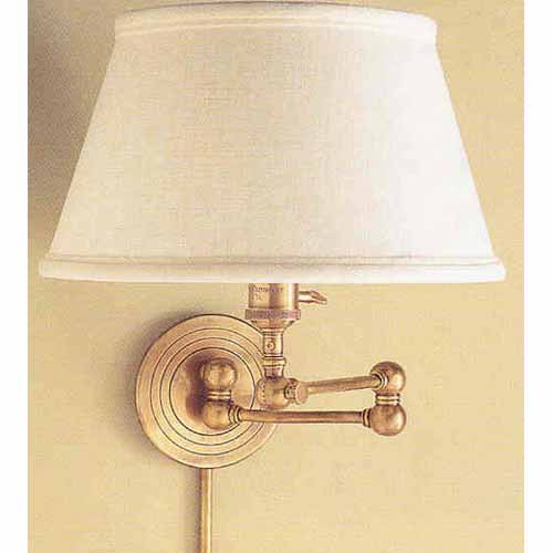 Visual Comfort And Company Swing Arm Wall Lamp With Linen Shade