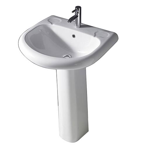 Orient White 660 Pedestal Lavatory with One Faucet Hole