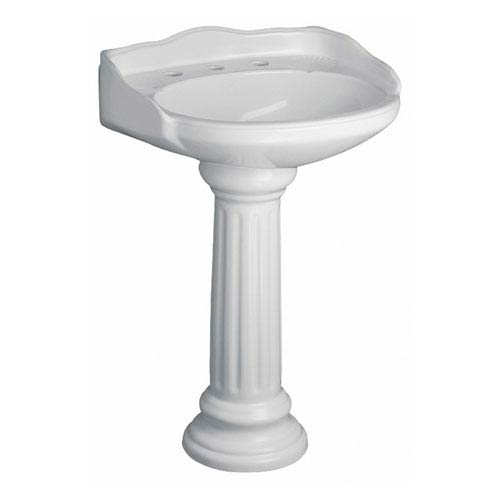 Vicki White Pedestal Sink 8-Inch Widespread