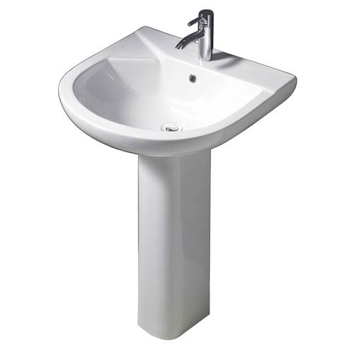 Barclay Products Anabel White 555 Pedestal Lavatory with One Faucet Hole