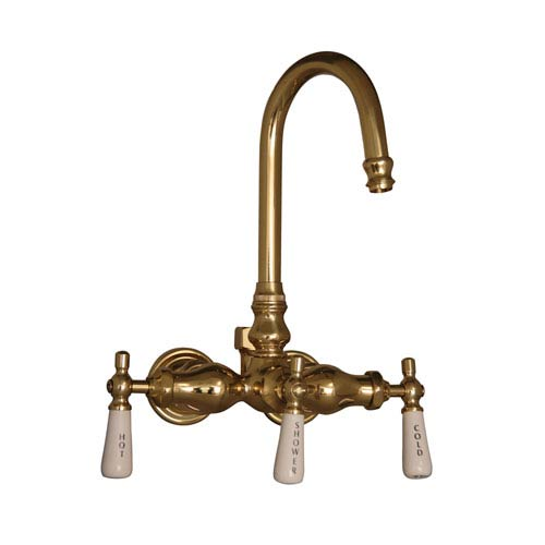 Barclay Products Polished Brass Leg Tub Diverter Faucet