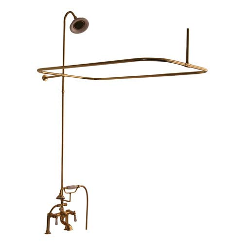 Polished Brass Complete Shower Set with Porcelain Lever Handles
