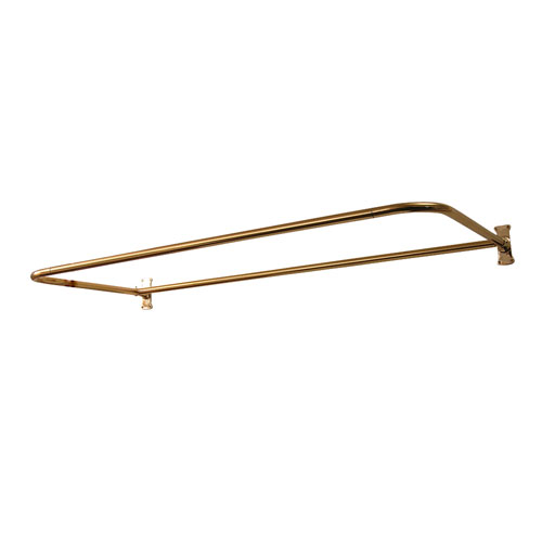Polished Brass D Shower Rod 54 x 26-Inch with Flanges