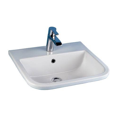 Barclay Products Series 600 White Drop-In Basin with One Faucet Hole