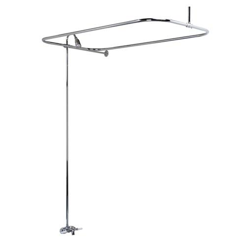 Clawfoot Tub Rectangular Shower Unit With Side Wall Support