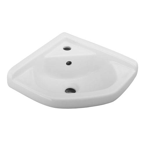 White Wall-Mounted Corner Sink