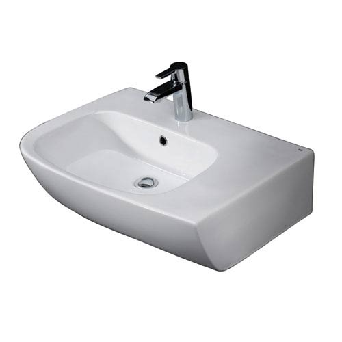 Barclay Products Elena White 25-Inch Above Counter Basin with Deck on Right