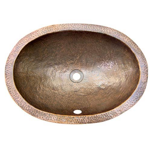 Oval Antique Copper Self-Rimming Bathroom Sink