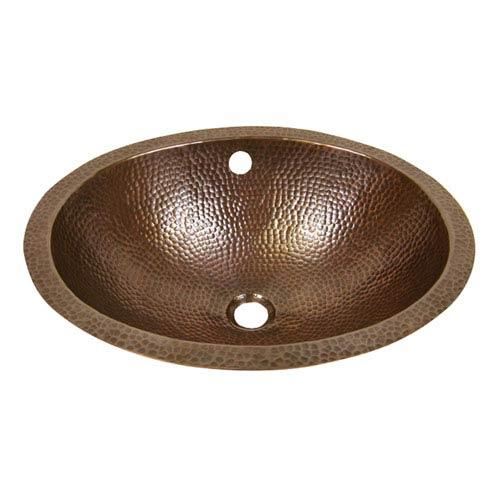 Hammered Antique Copper 19-Inch Oval Undermount Bathroom Sink