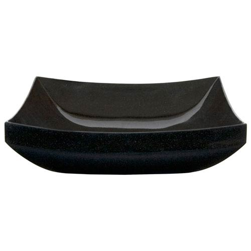 Mornos Polished Black Curved Square Granite Vessel
