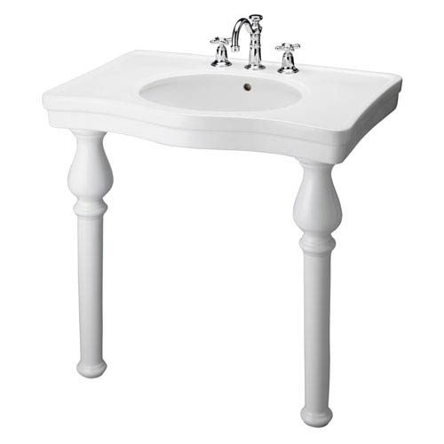 Milano White Deluxe Console with One Faucet Hole