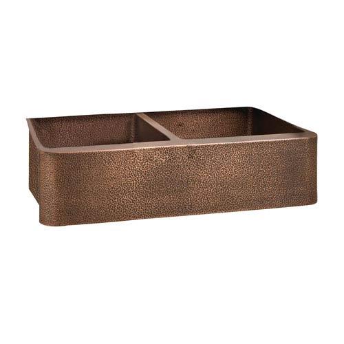 Port Antique Copper 35-Inch Double Bowl Farmer Sink