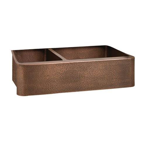 Perla Antique Copper 33-Inch Offset Double Bowl Farmer Sink Bowl