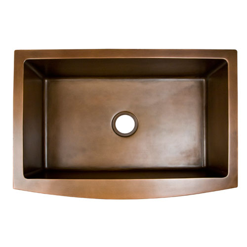 Emelina Antique Copper 33-Inch Single Bowl Curved Front Farmer Sink