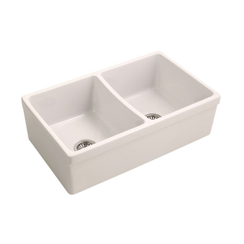 Barclay Products Lettie 33 Inch Double Bowl Fireclay Farmer Sink, Bisque